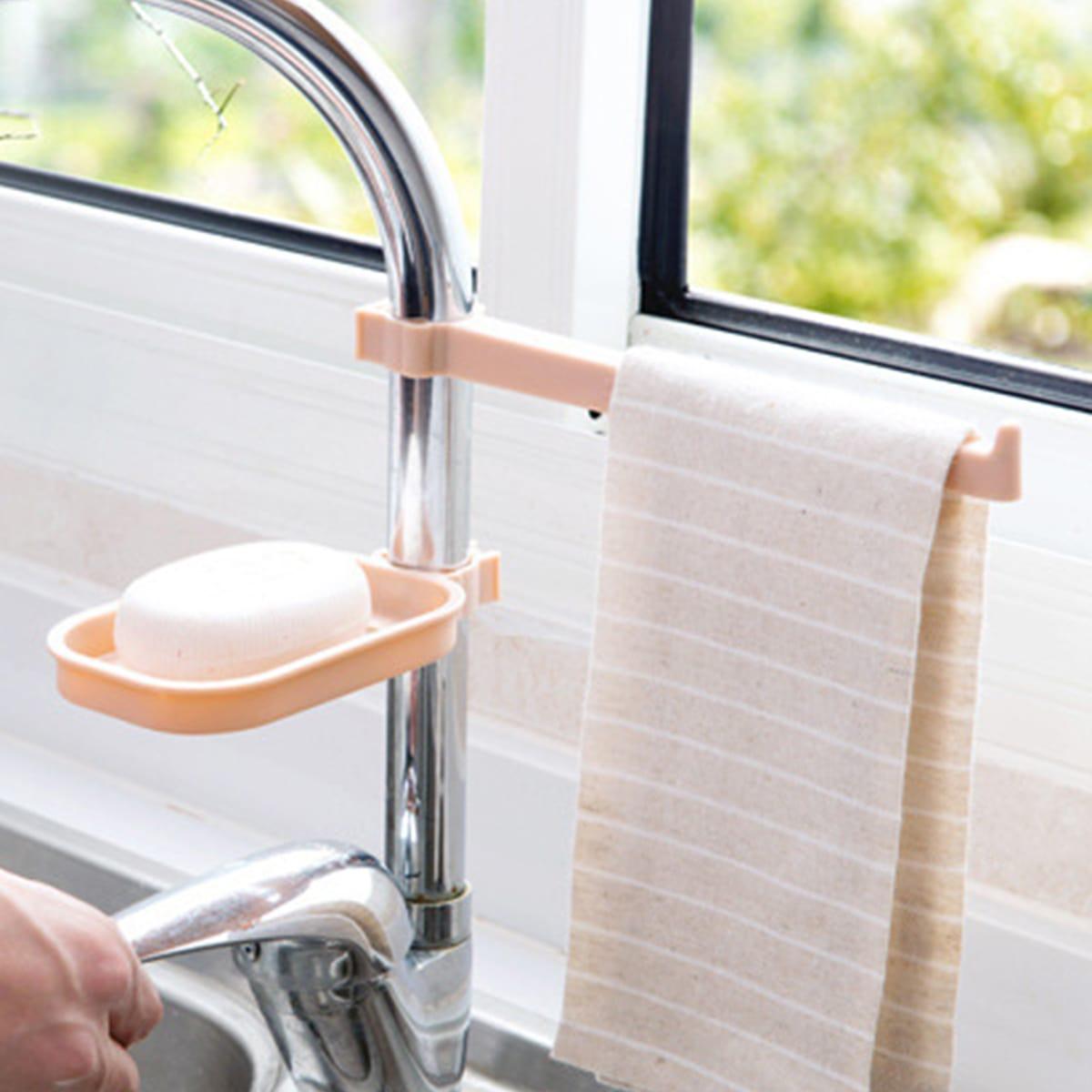 1 pièce Porte-savon suspendu pour lavabo avec porte-serviette