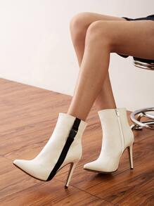 Point Toe Side Zip Stiletto Boots