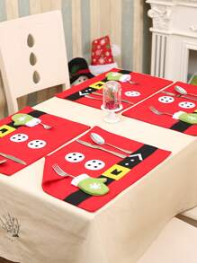 2pcs Christmas Print Placemat & Cutlery Holder
