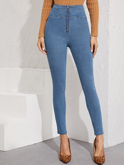 Wide Waistband Zip Fly Skinny Jeans