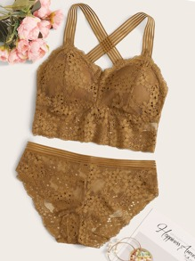 Floral Lace Criss Cross Lingerie Set