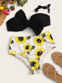 Bow Bandeau With Floral High Waist Bikini Set