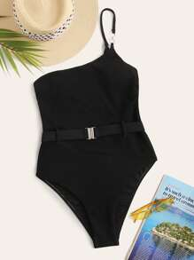 Belted One Shoulder One Piece Swimwear