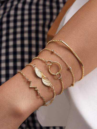 5pcs Ring & Wing Decor Bracelet
