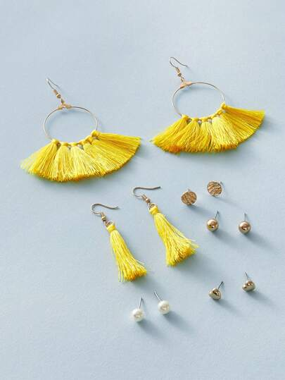 6pairs Tassel & Pearl Earrings