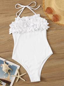 Floral Appliques Halter One Piece Swimwear