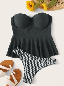 Ruffle Hem Underwire Bandeau With Striped High Cut Tankini