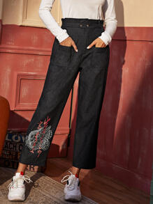 Dragon & Letter Graphic Paperbag Waist Pants