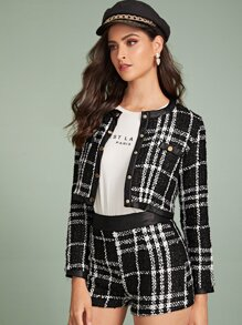 Tweed Button Front Plaid Crop Jacket & Shorts