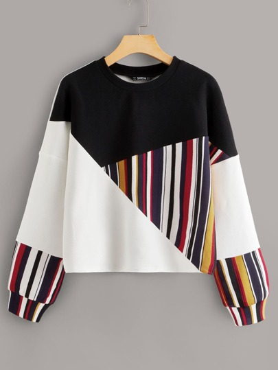 Drop Shoulder Striped Cut-and-sew Pullover