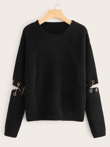 Grommet And Chain Decoration Slit Hem Sweater