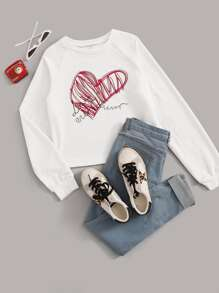 Letter And Heart Print Raglan Sleeve Sweatshirt