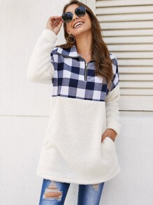 Contrast Plaid Panel Half Placket Teddy Sweatshirt