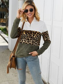 Color-block Leopard Print Half Zip Sweatshirt