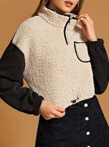 Contrast Sleeve Half Placket Teddy Sweatshirt