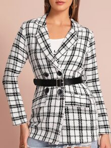 Tweed Lapel Neck Double Breasted Belted Plaid Blazer