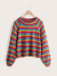Rainbow Stripe Raglan Sleeve Sweater