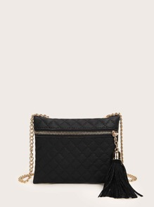Tassel Decor Quilted Chain Bag