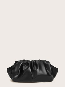 Ruched Detail Faux Leather Crossbody Bag