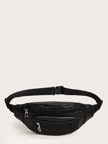 Zip Front Faux Leather Fanny Pack