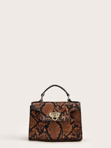 Snakeskin Satchel Bag With Chain Strap