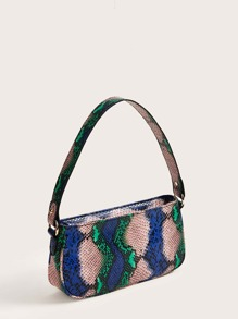 Snakeskin Zip Up Baguette Bag