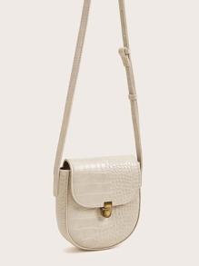 Push Lock Croc Embossed Crossbody Bag