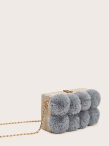 Fluffy Pom Pom Decor Box Chain Bag