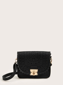 Hollow Out Scalloped Crossbody Bag
