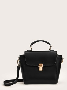 Push Lock Flap Satchel Bag