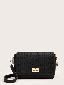 Twist Lock Hollow Out Crossbody Bag
