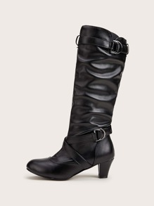 Cross Strap Chunky Heeled Harness Boots