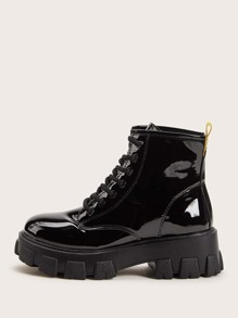 Lace-up Front Patent Combat Boots