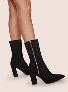 Side Zip Point Toe Chunky Boots