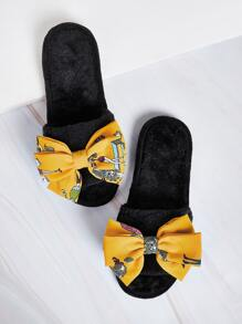 Open Toe Bow Decor Fluffy Slippers