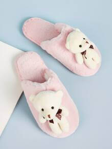 Bear Decor Fluffy Slippers