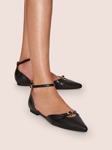 Point Toe Buckle Decor Ankle Strap Flats