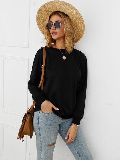 Open Back Knot Detail Sweatshirt