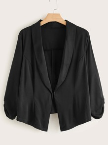 Plus Solid Shawl Collar Blazer
