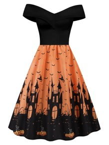 plus bat print off shoulder ball gown dress