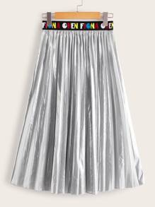 Letter Tape Waistband Metallic Pleated Skirt
