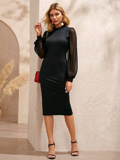 Swiss Dot Contrast Mesh Bishop Sleeve Bodycon Dress