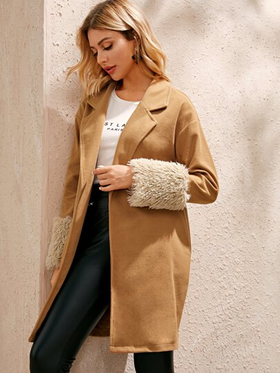 Open Front Contrast Faux Fur Cuff Coat