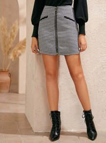 Houndstooth Zip Up Front O-Ring Short Skirts