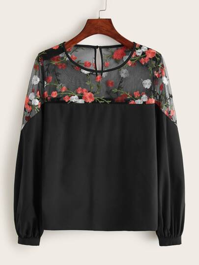 Floral Embroidery Lace Yoke Blouse