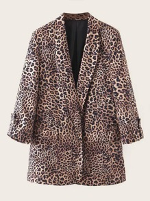 Roll-up Sleeve Leopard Print Blazer