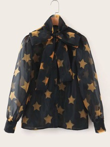 Tie Neck Star Print Sheer Blouse