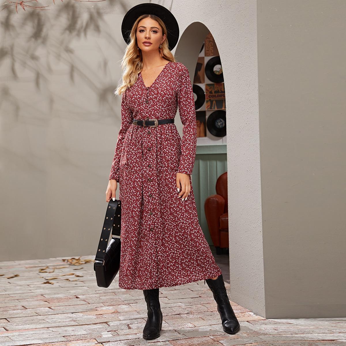 Цветочное платье с v-образным вырезом и пуговицами без пояса