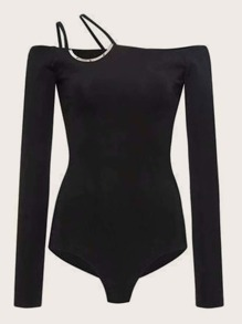 Asymmetric Neck Solid Fitted Bodysuit