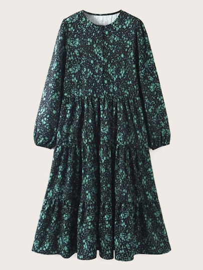 Ditsy Floral Ruffle Hem Smock Dress